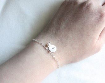 Initial bracelet, small pearl or birthstone color, personalize