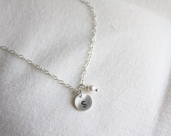 Initial necklace, small pearl or birthstone color, personalize
