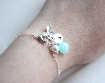 Orchid flower charm, pearl, gemstone, initial disc charm bracelet