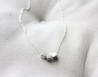 Silver cube triplet necklace