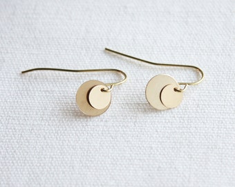 Gold discs layered earrings, 14K gold filled