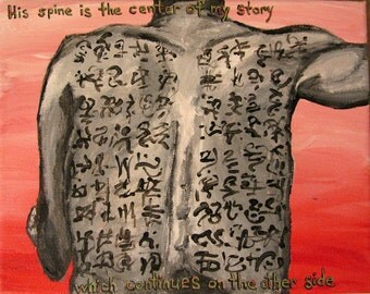 Torso painting - His Spine is the Center - small original acrylic from Trance Scripts, writing on skin