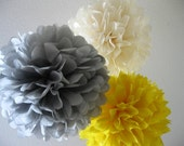 10 Tissue Pom Poms - Your Color Choice- SALE - Yellow and Gray Party Decorations