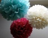 Tissue Pom Poms- 12 Poms - Your color choice