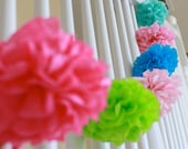 Tissue Paper Garland 10 Mini Poms - choose your colors - Napkin rings - favor box toppers - gift tag decoration