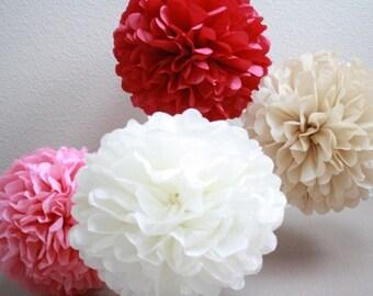 Tissue Paper Pom Pom - set of 6 Poms- Your Color Choice