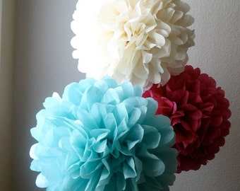 Tissue Pom Pom Bouquet -12 Large Poms - Your Color Choice - SALE
