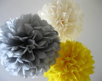 10 Tissue Paper Pom Poms -Large and Medium - SALE - Yellow and Gray Decoration - Birthday - Shower - Wedding - Reception - Baptism