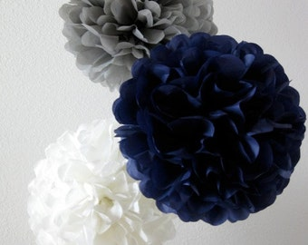 Paper Pom Poms -Set of 10- Your Color Choice -  Natutical Navy and Gray Decorations - Baby Boy shower decor