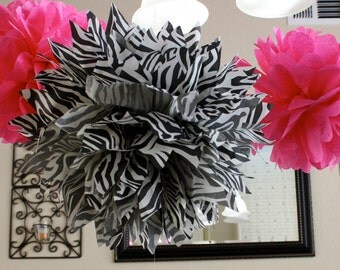 Zebra and Hot Pink Paper Pom Poms -Set of 3- Your Color Choice - Birthday Party - Bachelorette decorations - Shower Decor - Kids room