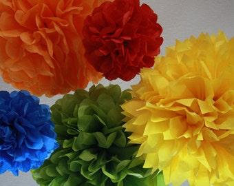Pom Poms -Set of 5- Sesame Street, Lego, Primary Colors Party- birthday party tissue pom pom decorations