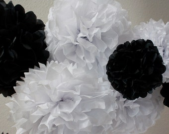20 Tissue Paper Pom Poms - Black and White Poms - Sale