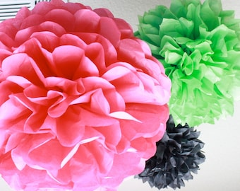 Watermelon Party Tissue Paper Pom Poms - 3 pom Small Party Pack - SALE