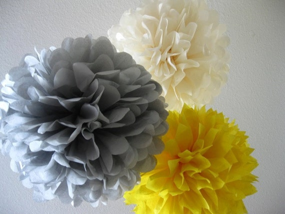 Tissue Paper Pom Poms - Set of 10 Poms - Your Color Choice- SALE - Yellow and Gray Decorations Tea Party Shower Birthday Wedding Decoration