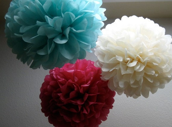 Tissue Paper Pom Poms- 12 Poms - Your color choice - Wedding - Birthday - Shower - Nursery Decoration