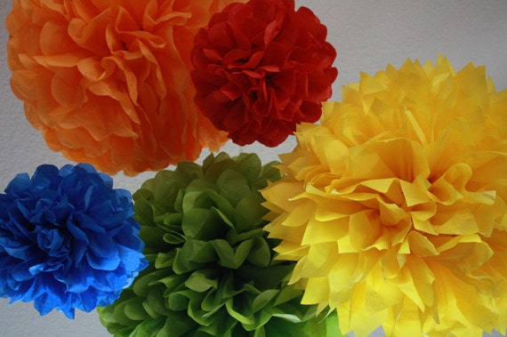 Tissue Paper Pom Poms -Set of 10- Sesame Street Party - Primary Color Party Decorations - Cookie Monster Big Bird Elmo Party