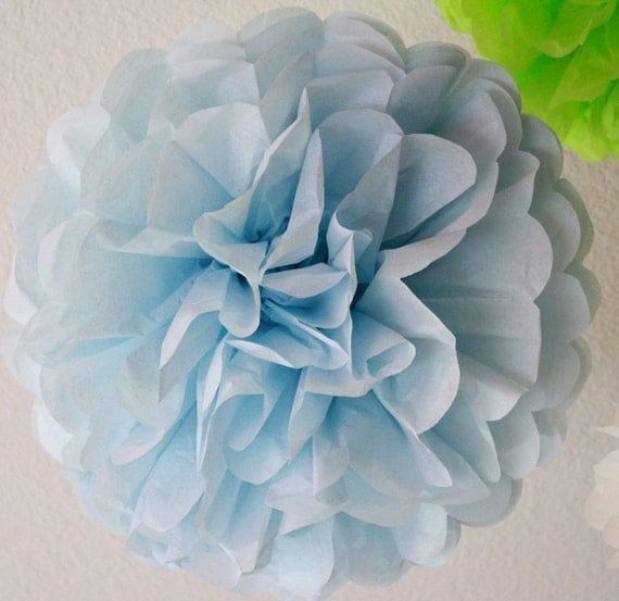 Light Blue Single Tissue Paper Pom SALE
