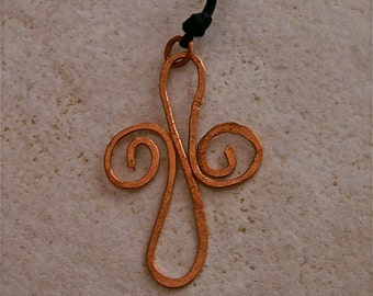 Hammered Copper Cross Necklace