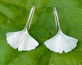 Ginkgo Leaf Earrings in Sterling Silver, Under 50 For Her, Nature Inspired, Eco Friendly