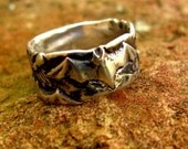 Bat and Spider Ring in Sterling Silver Size 7 Eco-Friendly