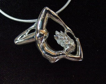 Silver Lady Siren, Goddess of the Sea, 5 way Pendant Sterling Silver, Mother's Day