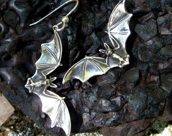 Flying Bat Earrings in Sterling Silver Drop, Halloween Jewelry Bat Jewelry Dangle Eco Friendly