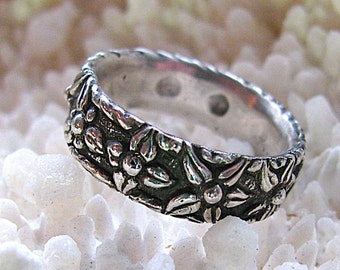 10 Flower Floral Sterling Silver Floral Ring with Flowers, Size 6,  Wedding Ring Flower Jewelry Nature Inspired,