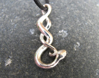 Silver Snake Necklace, Snake Jewelry Halloween Jewelry