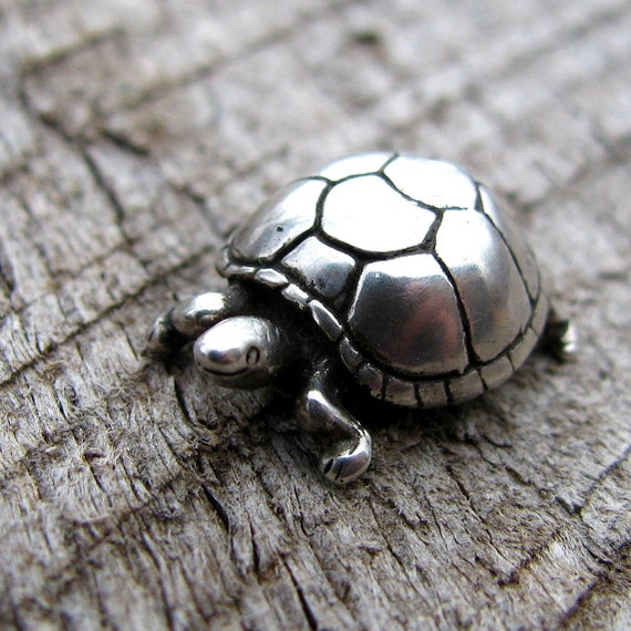 Adorable Silver Turtle Pendant or Charm Sterling Silver, Nature Inspired,
