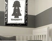 Star Wars - Kids room decor - wall art - Vader - Darth - Darth Vader - Star Wars Nursery - Grey/Gray - Customizable