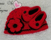 Crochet Set, Crochet Baby Set, Beanie and Baby Bootie, 3 - 6 months, Red and Black, Photo Prop, Sweetness In Smyrna