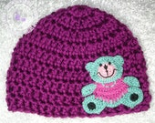 Baby Hat, Crochet Baby Bear Hat, Bear Hat, Passion Purple, Kawaii, Baby Bear Hat, 0 - 3 months, Photo Prop, READY TO SHIP