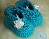 Baby Booties, Baby Girl Booties, Baby Girl, Crochet Girl Slippers, Turquoise, Ribbon Flowers, READY TO SHIP