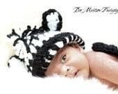 Baby Zebra Set, Cuddle Critter Cape Set, Zebra, Black, White, BABY PHOTO PROP, Ready to Ship, Newborn Photo Prop, 0 to 3 months