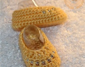 Baby Girl, Baby Girl Booties, Baby Booties, Crochet Girl Slippers, Spring, Gold, Silver Beads, READY TO SHIP