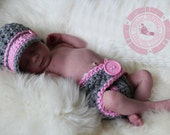 Baby Girl Set, Diaper Cover and Hat Set, Coming Home Outfit, 0 to 3 months, Crochet Diaper Set, Newsboy Hat, Hat Set, Gray, Pink, Photo Prop