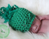 Crochet Baby Hat with Tassle, Baby Girl Hat, Crochet Newborn Beanie, Super Soft with Tassle in Green, 0 - 3 months, READY TO SHIP