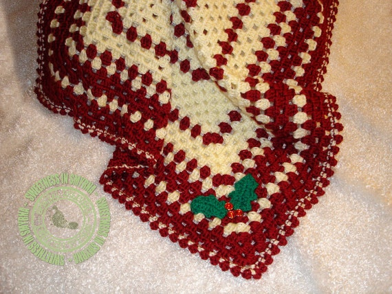 Christmas Baby Blanket,  Baby Blanket,  Holly Blanket, Infant Blanket, Soft and Cuddly, Photo Prop, READY TO SHIP