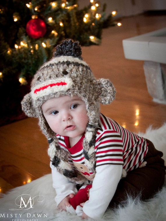 Sock Monkey Hat - Hand Crocheted - Unisex Baby or Newborn Beanie - Super Soft with Pom Pom in Oatmeal, Charcoal and Cream - READY TO SHIP