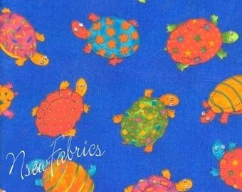 """Turtle COTTON Fabric Polka Dots Stars Flowers Stripes on Blue - 60"""" Wide"""