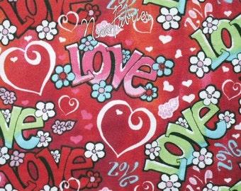 HEART Fabric Hippie LoVe FLOWER POWER Red Pink