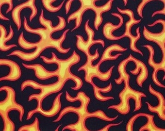 FLAMING FIRE FLAMES Cotton Fabric Orange Yellow on Black