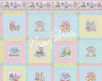 Mary Engelbreit Fabric Vintage Baby Toys Animals Quilt Blocks Cuties - Mother Goose