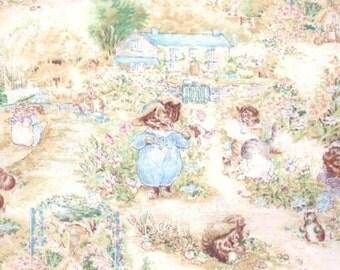 Beatrix Potter Fabric Peter Rabbit Tom Kitten on White - Three Little Kittens