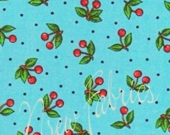 Mary Engelbreit Fabric BIG RED Cherry on BLue Cotton
