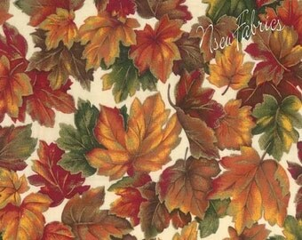 Autumn Fall Leaves Cotton Fabric & Metallic Highlights on cream