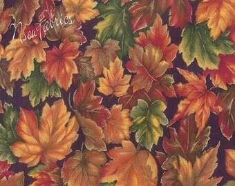 Autumn Fall Leaves Cotton Fabric & Metallic Highlights on black - Treasury Item