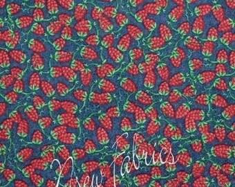 Red RASPBERRY Berries Fabric Raspberries Berry Vine