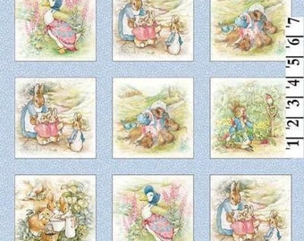 "Beatrix Potter Fabric Benjamin Bunny Quilt blocks 4"" Blue Panels - Peter Rabbit Fabric"