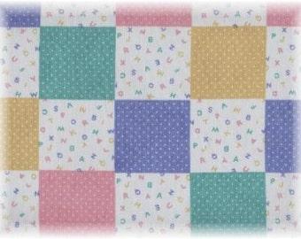 Baby Blocks Fabric ABC Patchwork Pastel Quilt Squares